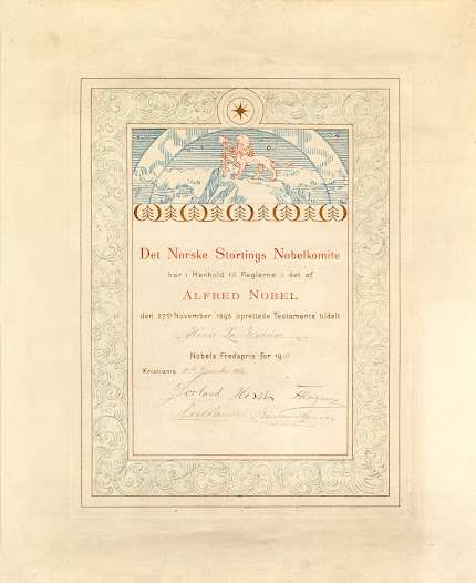 Diploma of the Nobel Peace Prize awarded to Henri La Fontaine in 1913