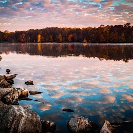 Centennial Sunrise by Joe Adams - Landscapes Waterscapes ( clouds, reflection, fall, lake, sunrise, rocks, centennial park )