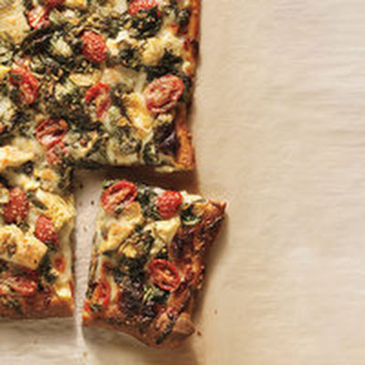 Artichoke, Tomato and Spinach Pizza