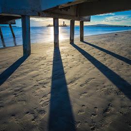 Footprints Under the Pier by Mike Zampelli - Buildings & Architecture Bridges & Suspended Structures ( long beach, california, sunset, pier, belmont, shadows,  )