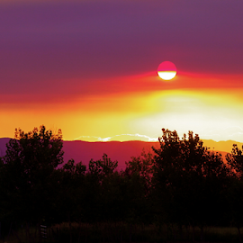 Smokey Sunset by Dennis Robertson - Landscapes Sunsets & Sunrises ( sunset )