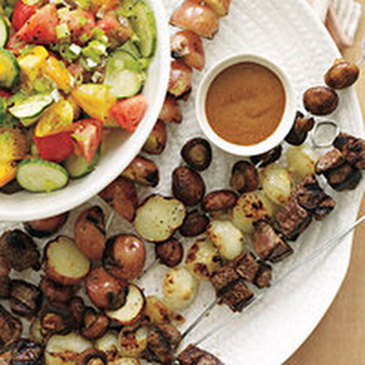 """Not Yet Ready for Stew"" Kebabs and ""Not Ready to Say Goodbye to Summer Tomatoes"" Salad"