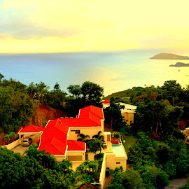 Westside View by Wentworth Howson - Buildings & Architecture Homes ( mountain, usvi, view, homes, st.thomas island view )