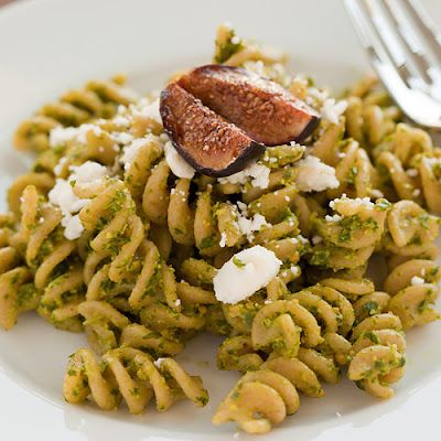 Arugula Pesto Pasta with Roasted Figs