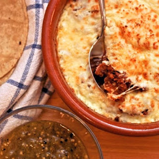 Mexican 'Fondue' with Chorizo and Tomatillo Salsa