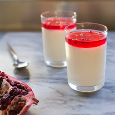 Toasted Coconut Panna Cotta with Hibiscus and Pomegranate