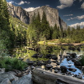 Valley View by Michael Finocchio - Landscapes Mountains & Hills ( stream, mountains, national park, yosemite, el capitan, valley view, mfinocchiophotography.com, merced river, finocchio, valley, rocks,  )