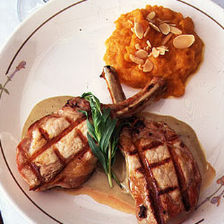 Pork Chops with Blue Cheese Sauce and Butternut Squash Purée