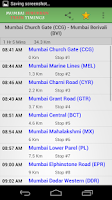 Screenshot of Mumbai Suburban Train Timings
