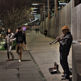 The nIght busker by Howard Ferrier - People Musicians & Entertainers ( walking, melbourne, southbank, trumpet, busker, musician, couple, night, hat )