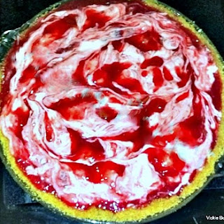 Raspberry Rhubarb Pie with Cream Cheese Swirl