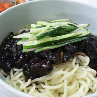Korean Noodles with Black Bean Sauce (Jajangmyun)