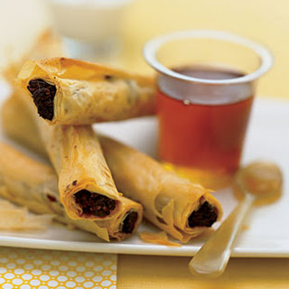 Date and Walnut Phyllo Rolls with Greek Yogurt and Honey