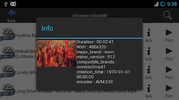 Screenshot of Android Video Player