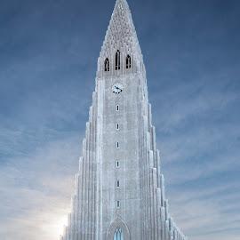 Hallgrimskirkja, Reykjavik by Martin Davis - Buildings & Architecture Places of Worship ( iceland, church, reykjavik, blue, ice, imposing, architecture )