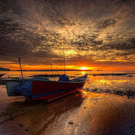 Waiting to Fish by NC Wong - Transportation Boats ( clouds, pasir panjang, sunset, beach, fishing boat )