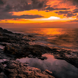 Fiery Morning Sky by Gary Hanson - Landscapes Waterscapes ( fiery, sky, north shore, sunrise, morning )