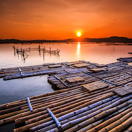 Rowo Jombor, Klaten, Middle Java by Richard Liong - Landscapes Sunsets & Sunrises