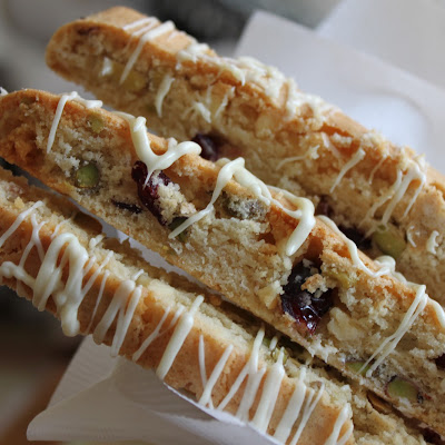 Cranberry, Pistachio and White Chocolate Biscotti