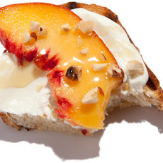 Peach and Hazelnut Mascarpone Bruschetta