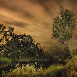 Night Scape - Coomera River by Daryl James - Landscapes Cloud Formations ( light paining, textures, cloud, long exposure, night, nightscape )