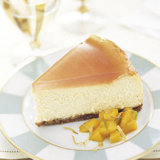 Vanilla-Bean Cheesecake with Guava Topping and Mango-Lime Salad
