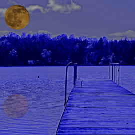 Moon over the lake by Martin Smith - Digital Art Things ( moon, blue, night, lake, orange. color )