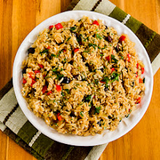 Slow Cooker Greek Rice with Red Bell Pepper, Feta, and Kalamata Olives