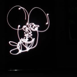 Mickey Light by Muhammad Sholeh Ismail - Abstract Light Painting ( light painting, micke, black and white, night, slow shutter,  )
