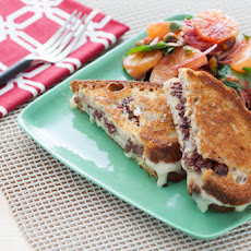 Taleggio & Olive Tapenade Grilled Cheese Sandwiches with Spiced Citrus Jewel Salad