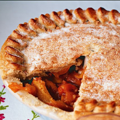 Peach and Apricot Amaretti Pie