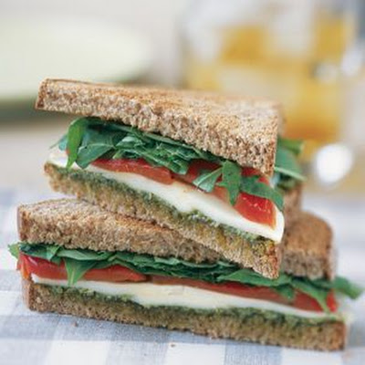 Roasted Red Pepper and Mozzarella Sandwiches