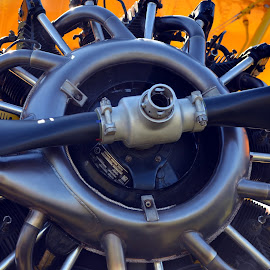 Stearman engine by Sandra Nafziger - Transportation Airplanes ( engine, airplane, stearman, antique, planes )