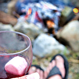 flip flops and wine by Seaason Whitney - Food & Drink Alcohol & Drinks ( wine, warmer weather, flip flops, barefeet, campfire,  )