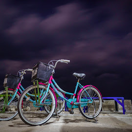 Bicycles at night by Kurnia Lim - Transportation Bicycles ( bicycles, night view, nighshot )