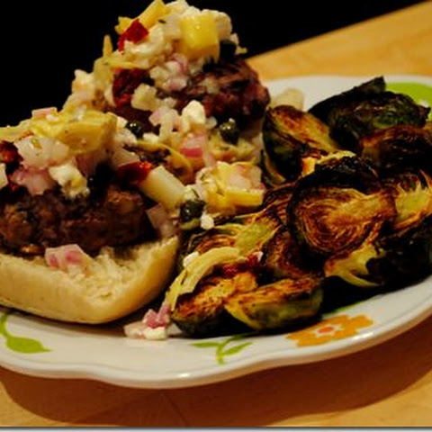 Mini Hamburger Sliders with Feta & Artichoke Salsa