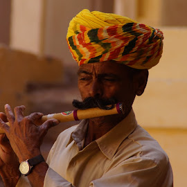 rajasthani  by Abhiroop Gill - People Musicians & Entertainers ( artist#flute#music#rajathani#colourful#blue#city )