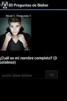 Screenshot of 80 Preguntas de Bieber