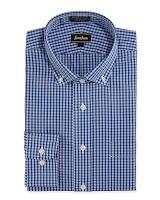Neiman Marcus Non-Iron Classic-Fit Gingham Dress Shirt, Blue - (18.5 36/37)