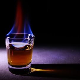 BurningRum by Steven Senkowski - Food & Drink Alcohol & Drinks ( 151, red, blue, alcohol, burning, rum, flame )