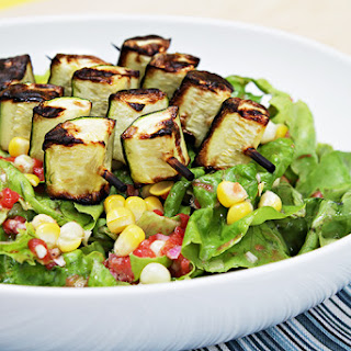 Boston Lettuce And Corn Salad With Grilled Zucchini Skewers And Tomato Vinaigrette