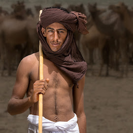 Camel Man by Nayyer Reza - People Portraits of Men ( pakistan, cholistan, color, camels, watchman, nayyer, reza,  )