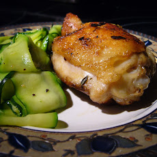 Pan-Roasted Chicken Thighs, Zucchini Ribbons