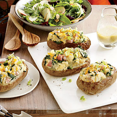 Spinach and Ham Stuffed Baked Potatoes