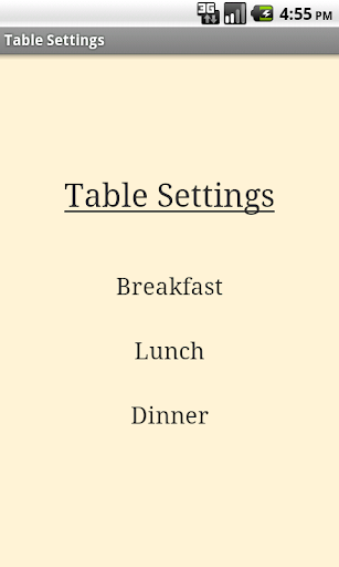 Table Setting Cheat Sheet