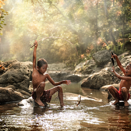 Children In Fishing Moment by Pimpin Nagawan - Babies & Children Children Candids