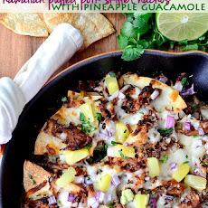 Hawaiian Pulled Pork Skillet Nachos with Pineapple Guacamole (Crock Pot Recipe!)