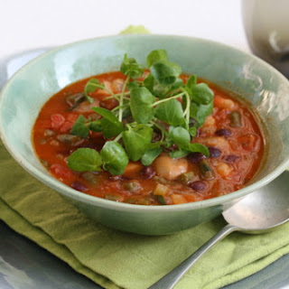 Three Bean Soup With Fresh Basil And Watercress