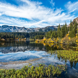 Twin Lakes by Mark Cote - Landscapes Waterscapes ( mammoth lakes, fall colors, fall, twin lakes, reflections, sierra nevada mountains,  )