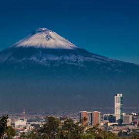 Puebla city and Volcano by Cristobal Garciaferro Rubio - City,  Street & Park  Vistas ( volcano, popo, mexico, puebla, popocatepetl, snowy volcano )
